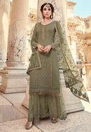 Olive Green Georgette Embroideried Work Palazzo Suit