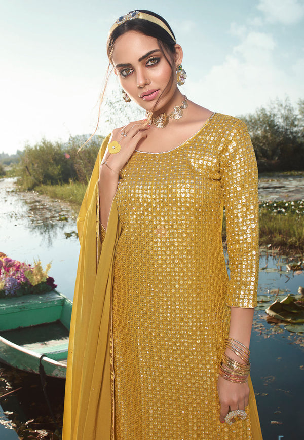 Yellow Georgette Embroidered Work Palazzo Suit