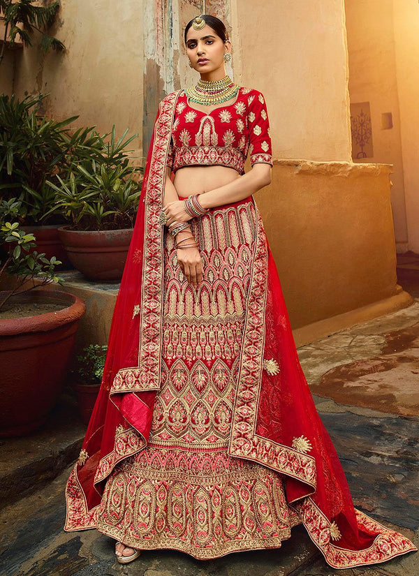 Red And Golden Multi Embroidered Wedding Lehenga Choli