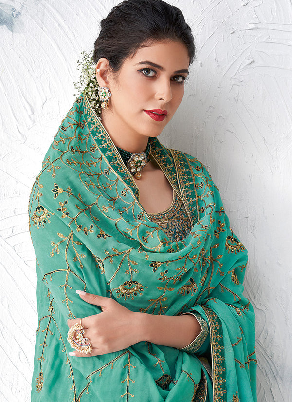 Turquoise Embroidered Palazzo Suit