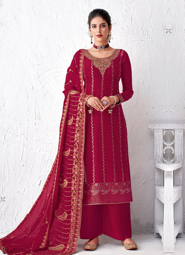 Royal Pink Embroidered Palazzo Suit
