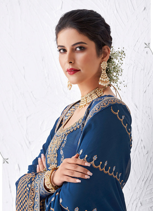 Royal Blue Embroidered Palazzo Suit