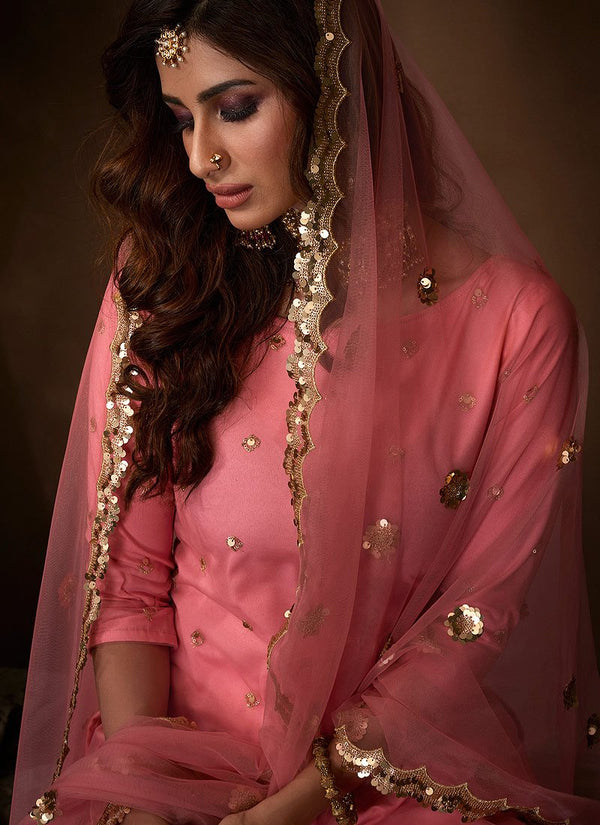Pink Traditional Embroidered Gharara Suit