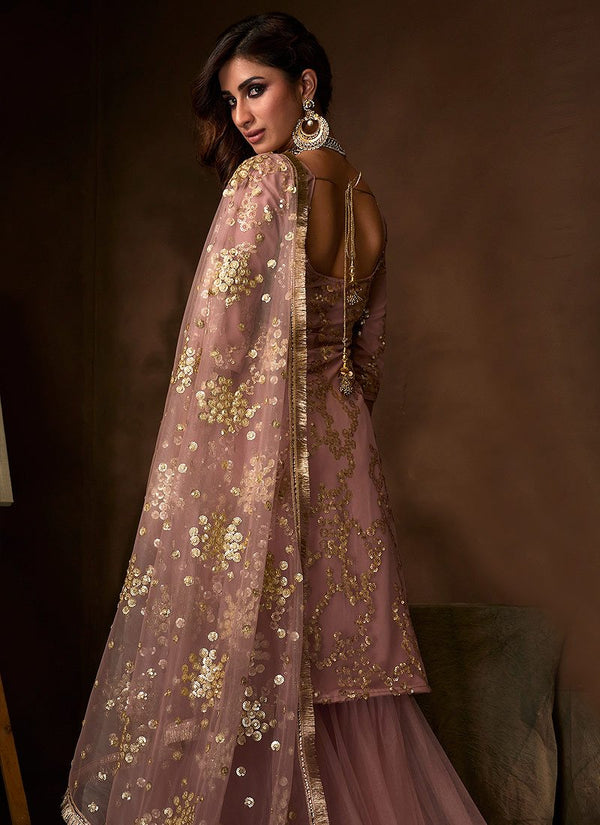 Purple Traditional Embroidered Gharara Suit