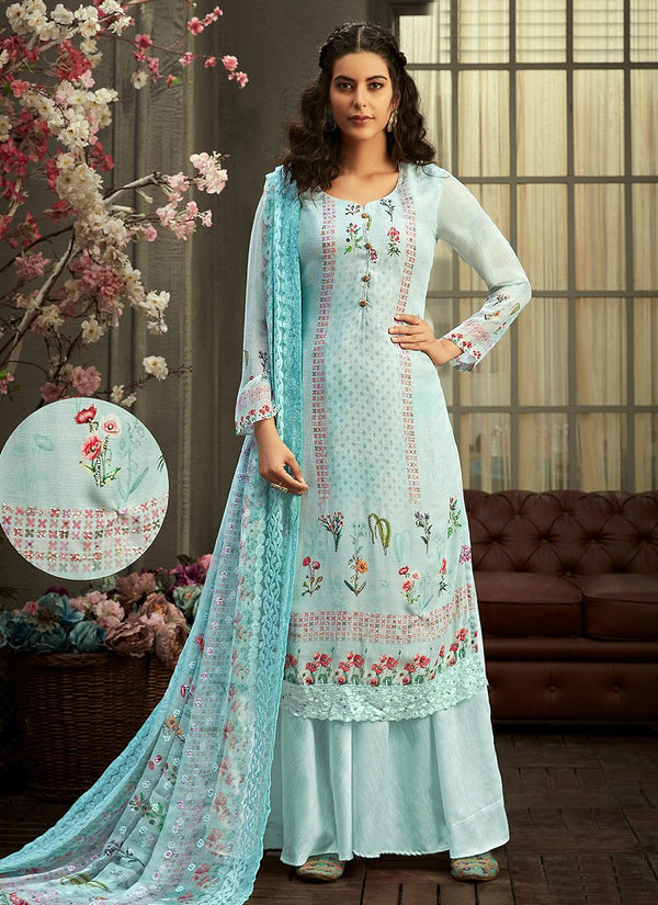 Sky Blue Multi Embroidered Palazzo Suit