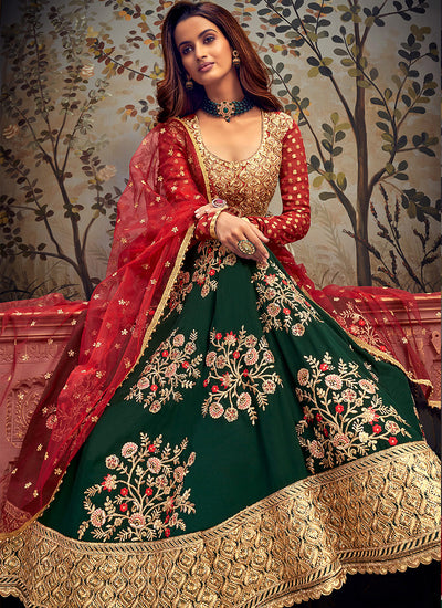 Green And Red Embroidered Anarkali Suit