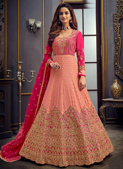 Peach And Pink Embroidered Anarkali Suit