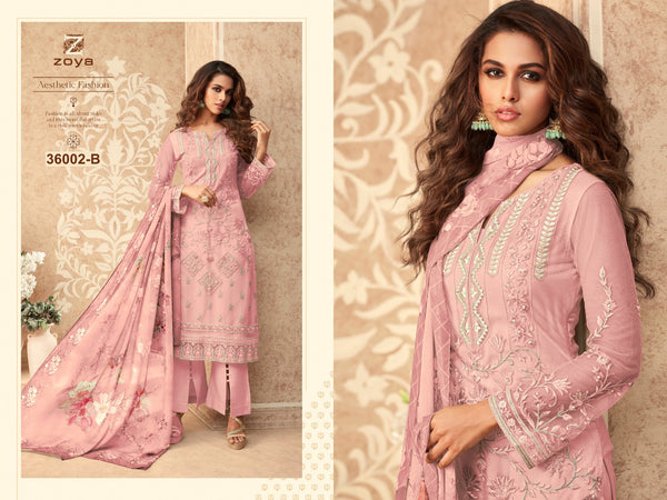 Pink Embroidered Net Salwar Kameez