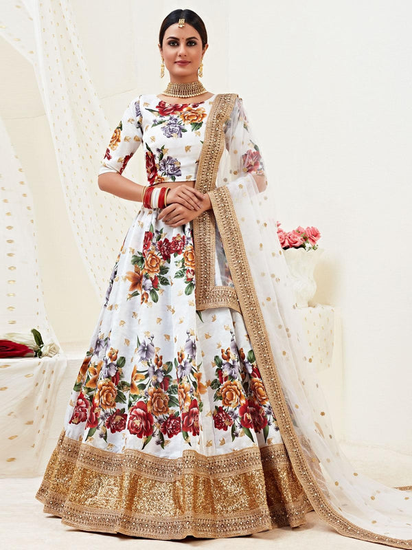 White Banglori Silk Digital Printed Lehenga Choli