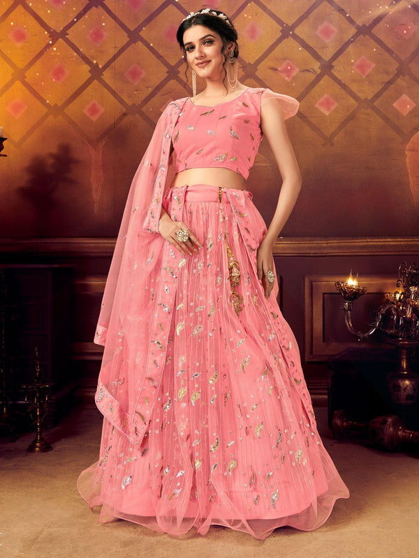 Pink Net Embroidered Lehenga Choli