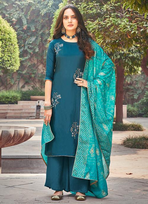 Turquoise Blue Embroidered Pakistani Palazzo Suit