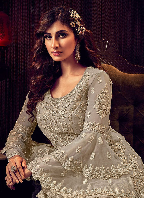 Silver Grey Embroidered Sharara Suit