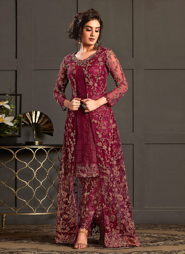 Maroon Multi Embroidered Jacket Style Pant Suit