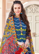 Blue Multi Colour Printed Cotton Silk Anarkali Suit
