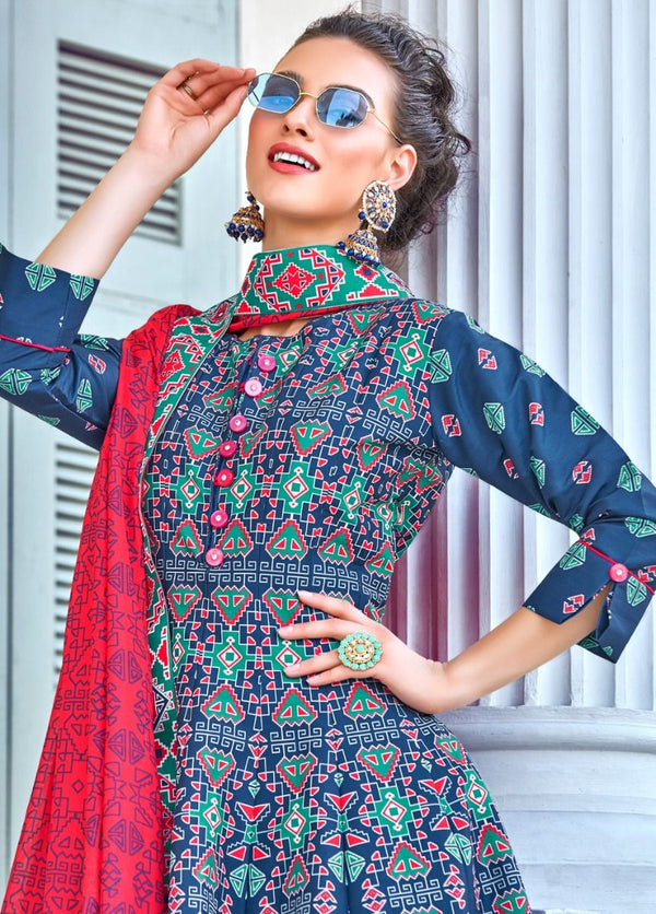 Blue And Red Patola Print Cotton Silk Anarkali Suit
