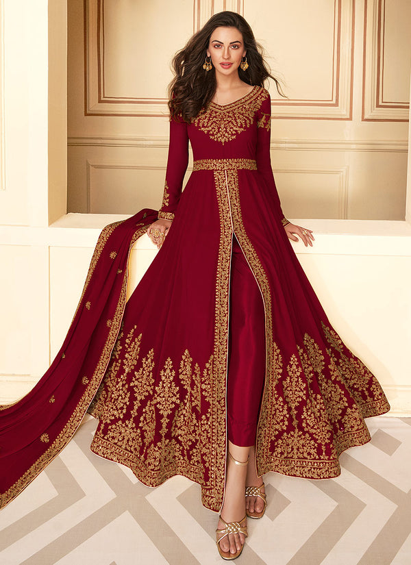 Red Slit Style Embroidered Anarkali Suit