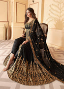Black Slit Style Embroidered Anarkali Suit