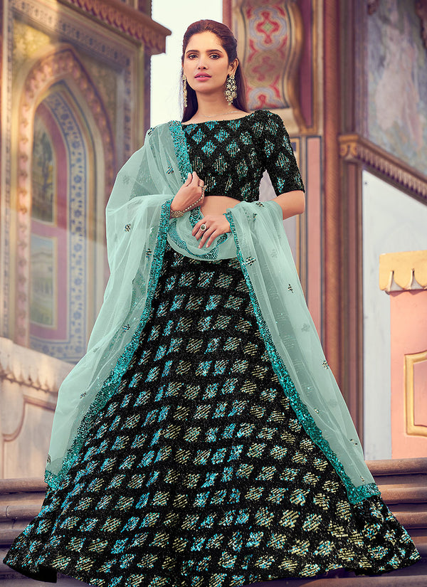 Black And Mint Sequence Work Embroidered Lehenga Choli