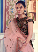 Black And Light Pink Sequence Work Embroidered Lehenga Choli