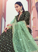 Black And Green Sequence Work Embroidered Lehenga Choli