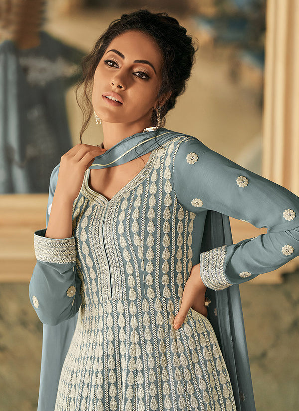 Blue And Grey Embroidered Anarkali Suit