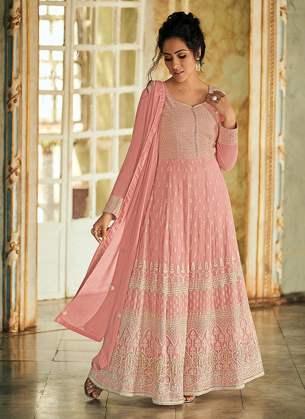 Light Pink  Embroidered Anarkali Suit