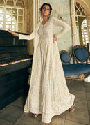 White and Gold Embroidered Anarkali Suit