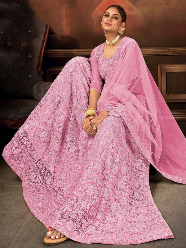 Pink Net Party Wear Lehenga Choli
