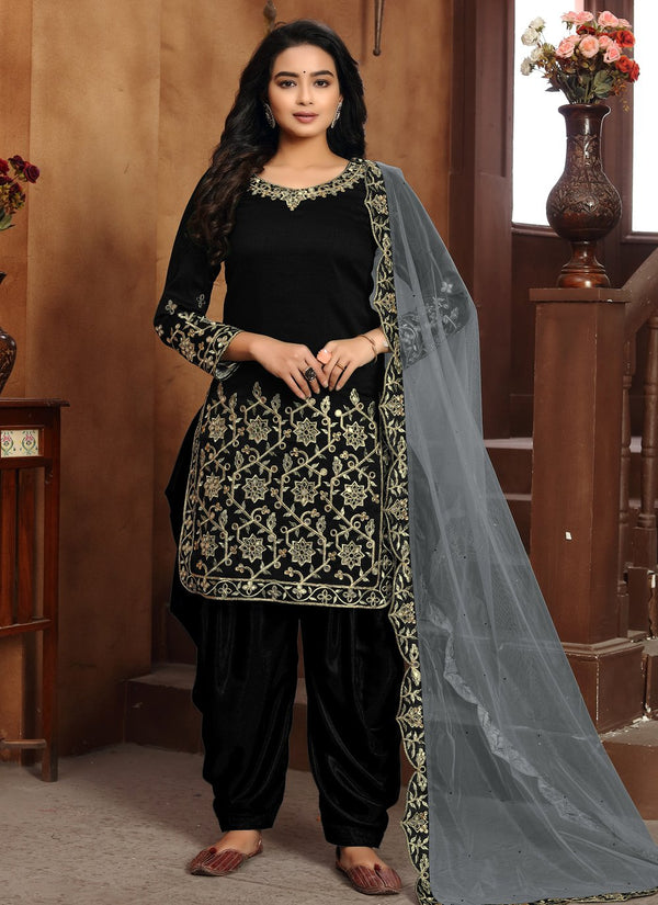 Black Art Silk Punjabi Suits