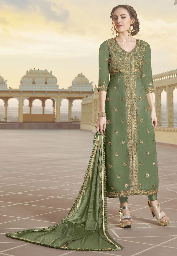 Dusty Green Art Silk Embroidered Churidar Suit