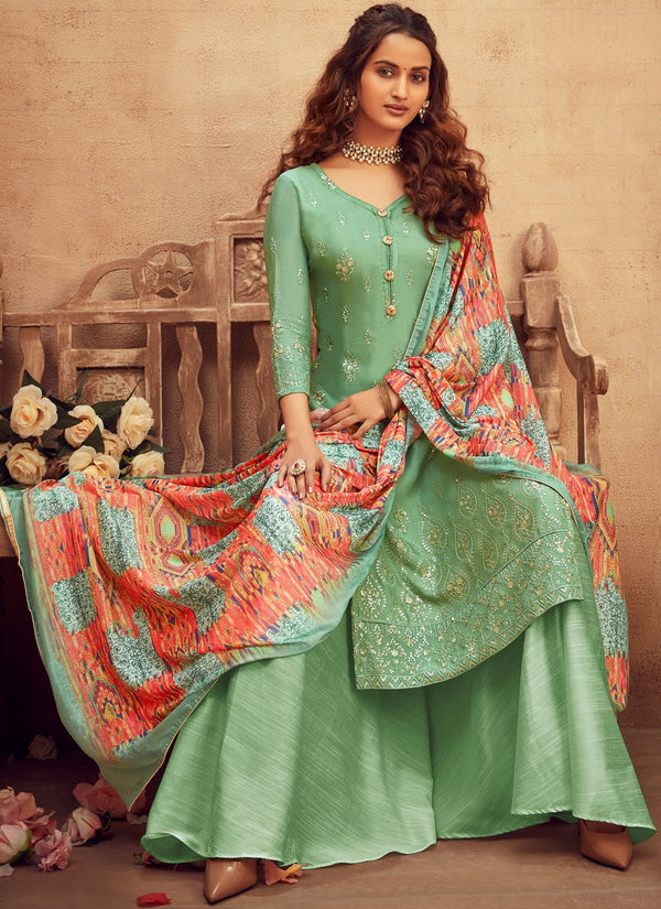 Light Green Viscose Embroidered Palazzo Suit
