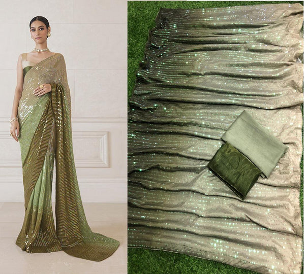 Mehendi Green Georgette Saree