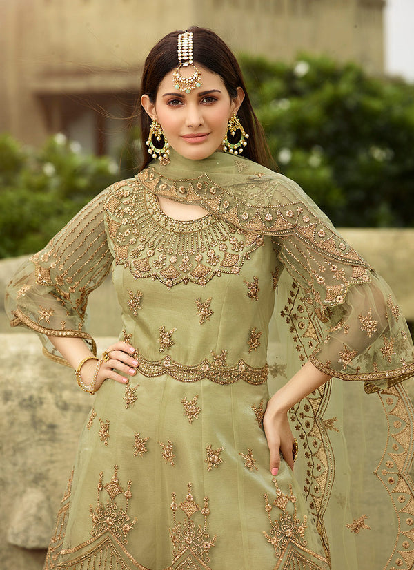 Green Net Embroideried Sharara Suit