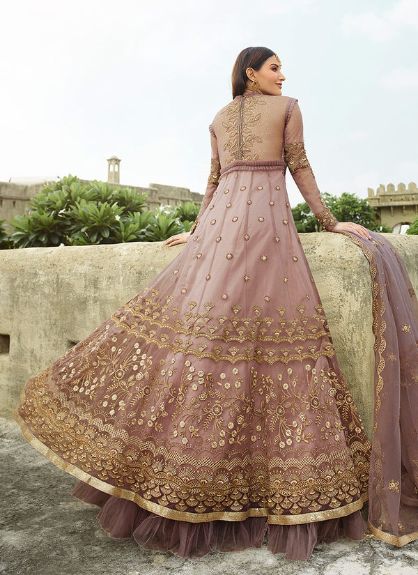 Light Purple Net Embroideried  Anarkali Suit