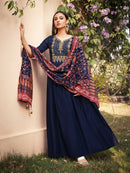 Navy Blue Maslin Embroidered Stitched Kurti
