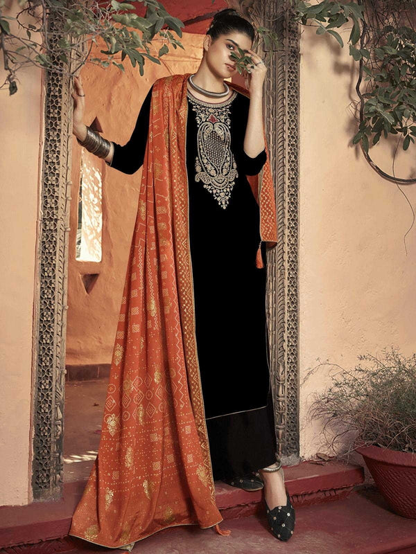 Black Velvet Embroidered Palazzo Suit