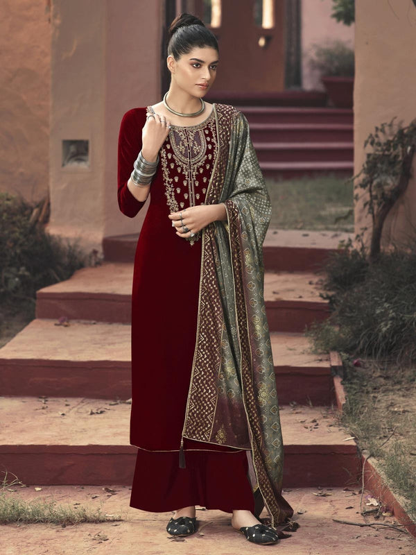 Red Velvet Embroidered Palazzo Suit