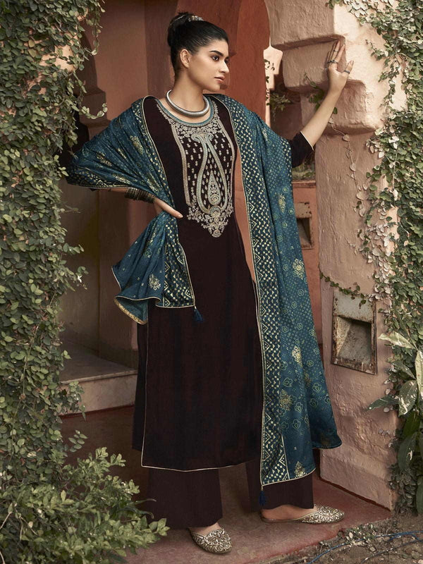 Brown Velvet Embroidered Palazzo Suit