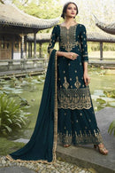 Teal Green Georgette Palazzo Suit