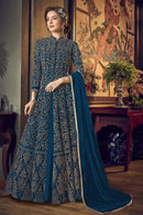 Teal Blue Heavy Butterfly Net Salwar Kameez
