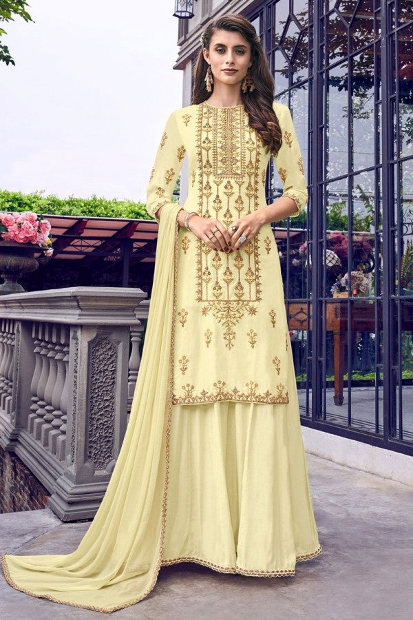 Light Yellow Georgette Palazzo Suit