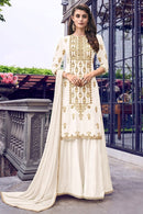 Off White Georgette Palazzo Suit