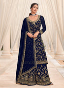 Blue And Gold Embroidered Work Sharara Suit