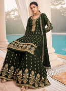 Mehendi Green And Gold Embroidered Work Sharara Suit
