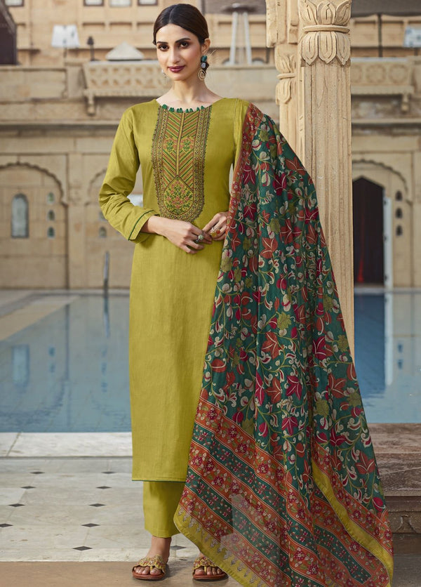 Green Cotton Casual Wear Pant Suit