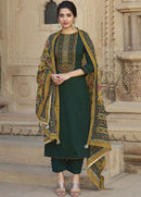 Dark Green Cotton Casual Wear Pant Suit