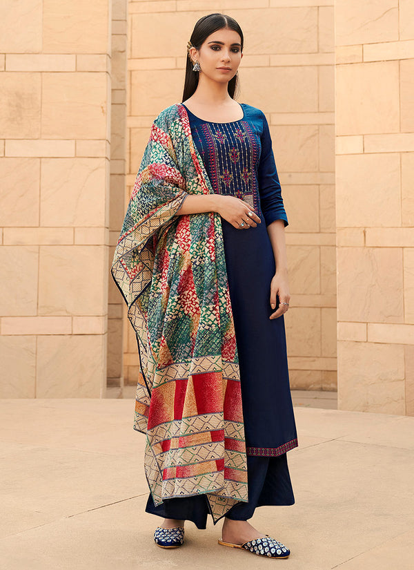 Navy Blue Cotton Embroidered Work Palazzo Suit
