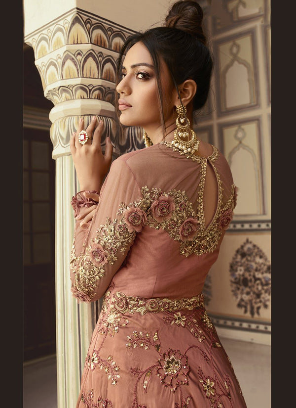 Mauve Net Embroideried Work Lehenga Suit