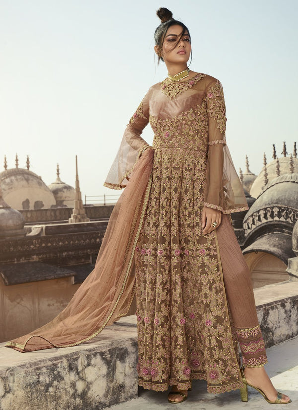 Beige Net Embroideried Work Pant Suit