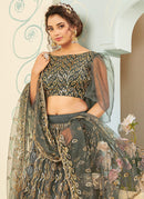 Grey Net Embroidered Designer Lehenga Choli